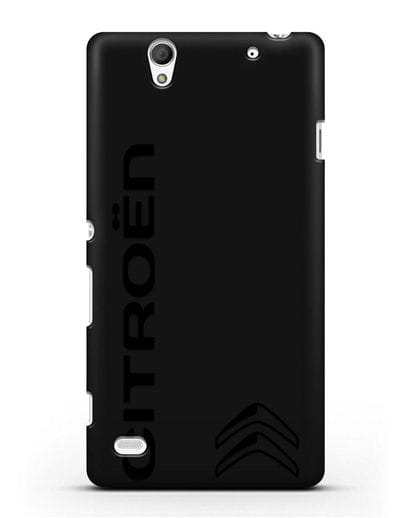 Чехол с надписью Citroen и логотипом силикон черный для Sony Xperia C4