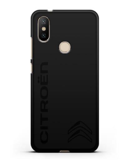 Чехол с надписью Citroen и логотипом силикон черный для Xiaomi Mi 6X