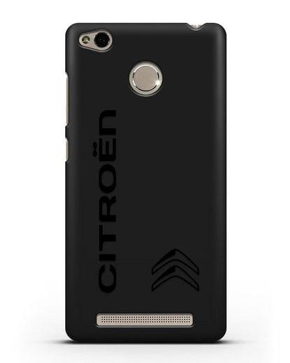 Чехол с надписью Citroen и логотипом силикон черный для Xiaomi Redmi 3s