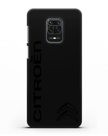 Чехол с надписью Citroen и логотипом силикон черный для Xiaomi Redmi Note 9S