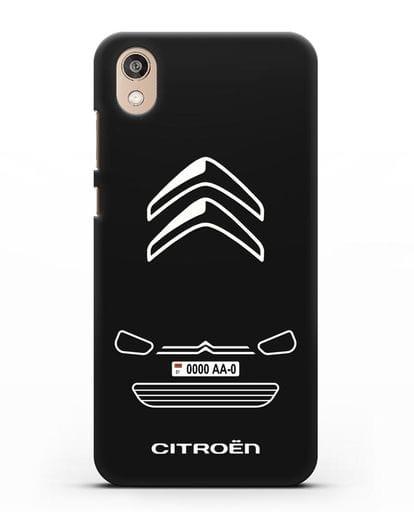Чехол Citroen с автомобильным номером силикон черный для Honor 8S