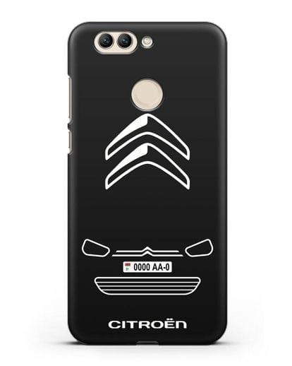 Чехол Citroen с автомобильным номером силикон черный для Huawei Nova 2 Plus