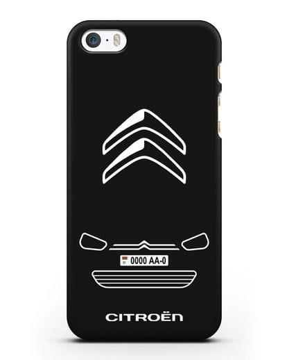 Чехол Citroen с автомобильным номером силикон черный для iPhone 5/5s/SE