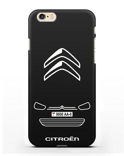 Чехол Citroen с автомобильным номером силикон черный для iPhone 6s