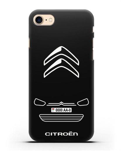 Чехол Citroen с автомобильным номером силикон черный для iPhone 7
