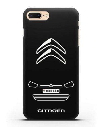 Чехол Citroen с автомобильным номером силикон черный для iPhone 8 Plus