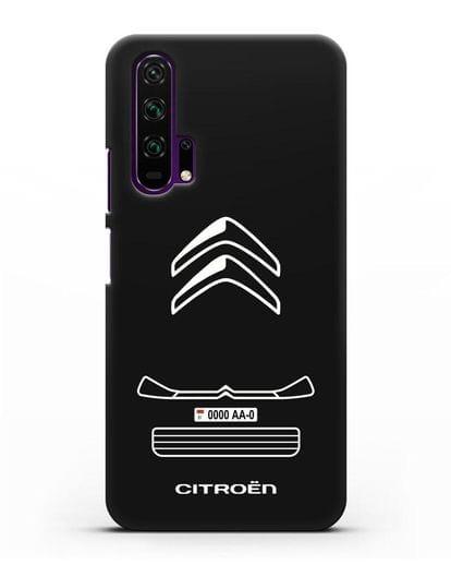 Чехол Citroen с номерным знаком силикон черный для Honor 20 Pro