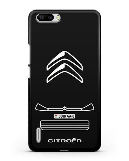 Чехол Citroen с номерным знаком силикон черный для Honor 6 Plus