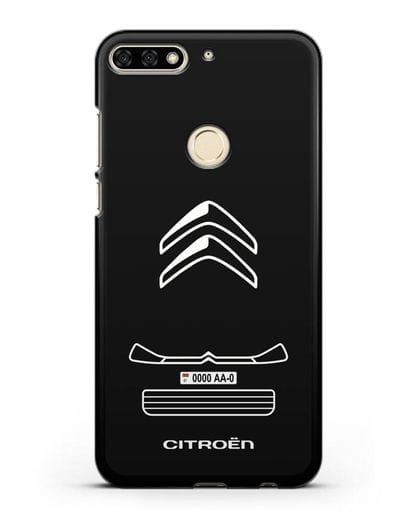 Чехол Citroen с номерным знаком силикон черный для Honor 7C