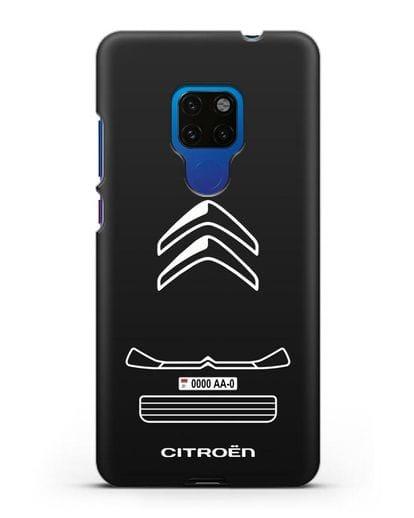 Чехол Citroen с номерным знаком силикон черный для Huawei Mate 20