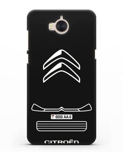 Чехол Citroen с номерным знаком силикон черный для Huawei Y5 2017