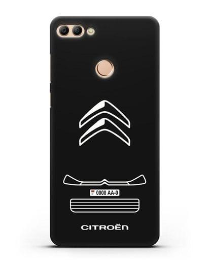 Чехол Citroen с номерным знаком силикон черный для Huawei Y9 2018