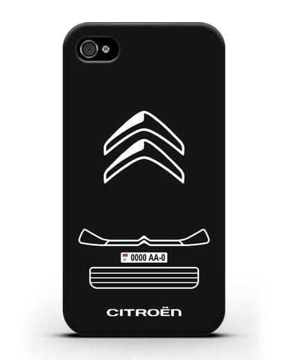 Чехол Citroen с номерным знаком силикон черный для iPhone 4/4s