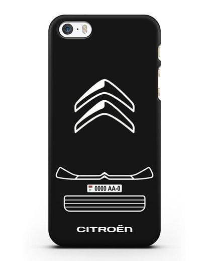 Чехол Citroen с номерным знаком силикон черный для iPhone 5/5s/SE