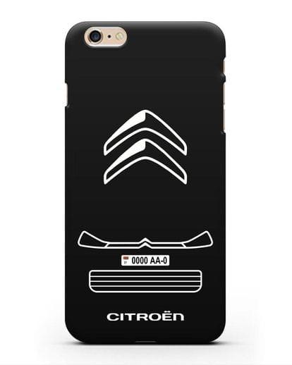 Чехол Citroen с номерным знаком силикон черный для iPhone 6s Plus