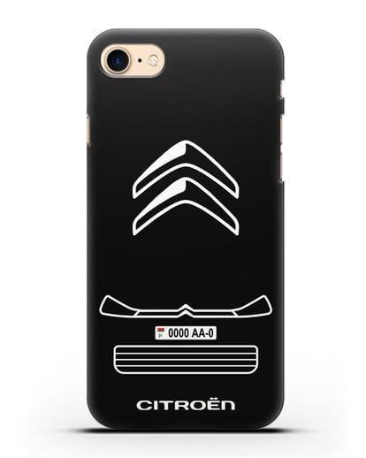 Чехол Citroen с номерным знаком силикон черный для iPhone 7