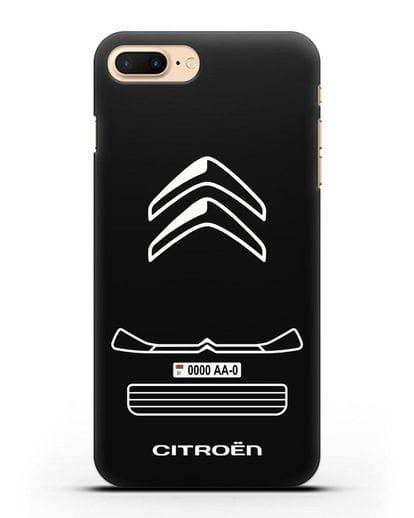 Чехол Citroen с номерным знаком силикон черный для iPhone 8 Plus