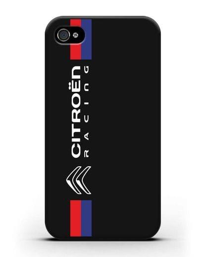 Чехол с логотипом Citroen Racing силикон черный для iPhone 4/4s