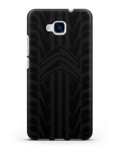 Чехол c эмблемой Citroen с протектором шин силикон черный для Honor 5C