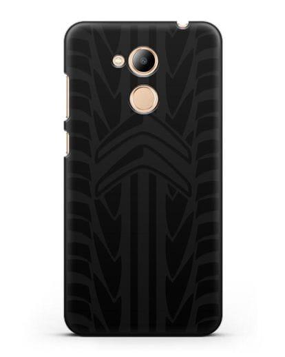 Чехол c эмблемой Citroen с протектором шин силикон черный для Honor 6C Pro