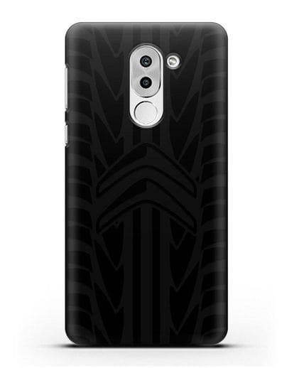 Чехол c эмблемой Citroen с протектором шин силикон черный для Honor 6X