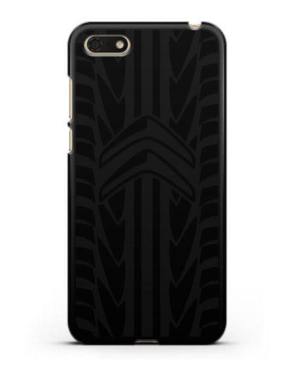 Чехол c эмблемой Citroen с протектором шин силикон черный для Honor 7А