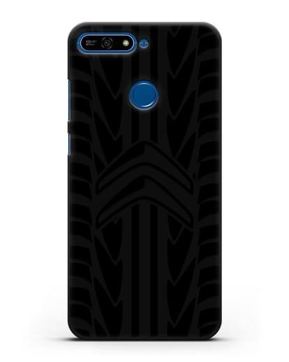 Чехол c эмблемой Citroen с протектором шин силикон черный для Honor 7А Pro