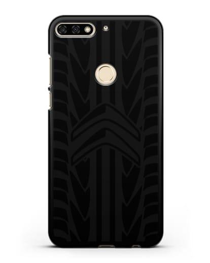 Чехол c эмблемой Citroen с протектором шин силикон черный для Honor 7C