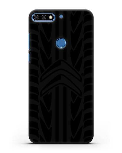 Чехол c эмблемой Citroen с протектором шин силикон черный для Honor 7C Pro