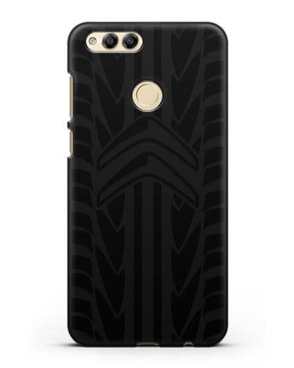 Чехол c эмблемой Citroen с протектором шин силикон черный для Honor 7X
