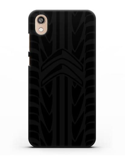Чехол c эмблемой Citroen с протектором шин силикон черный для Honor 8S