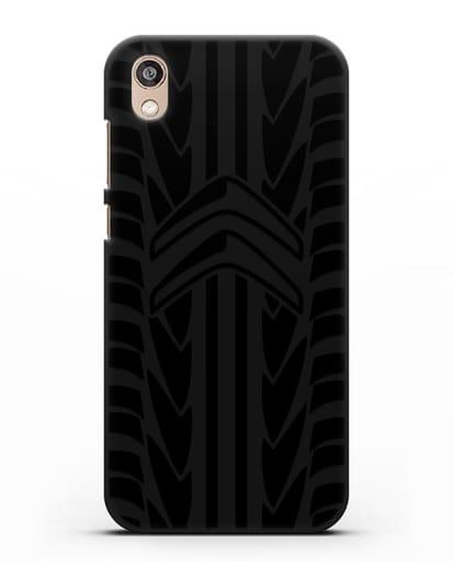 Чехол c эмблемой Citroen с протектором шин силикон черный для Honor 8S Prime