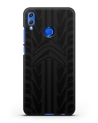 Чехол c эмблемой Citroen с протектором шин силикон черный для Honor 8X