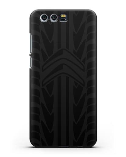 Чехол c эмблемой Citroen с протектором шин силикон черный для Honor 9