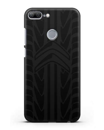 Чехол c эмблемой Citroen с протектором шин силикон черный для Honor 9 Lite