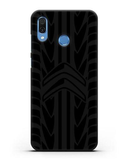 Чехол c эмблемой Citroen с протектором шин силикон черный для Honor Play