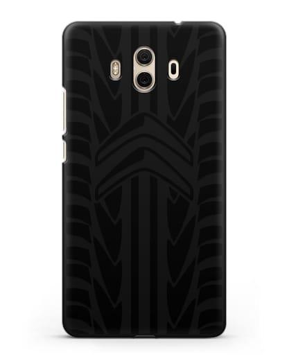 Чехол c эмблемой Citroen с протектором шин силикон черный для Huawei Mate 10