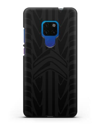 Чехол c эмблемой Citroen с протектором шин силикон черный для Huawei Mate 20