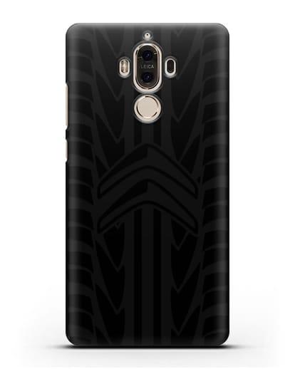 Чехол c эмблемой Citroen с протектором шин силикон черный для Huawei Mate 9