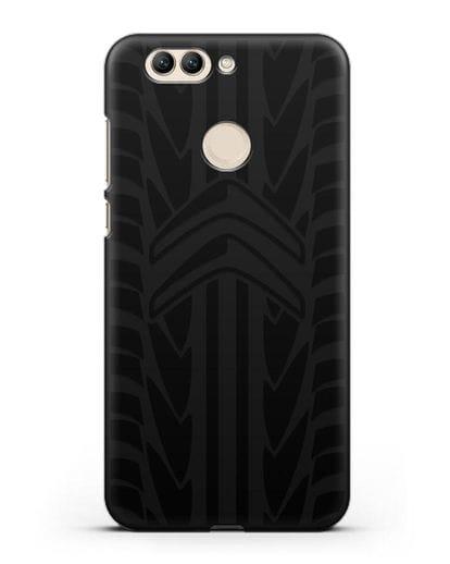 Чехол c эмблемой Citroen с протектором шин силикон черный для Huawei Nova 2 Plus