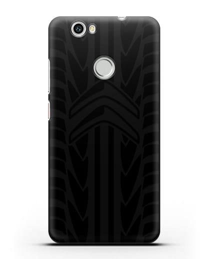 Чехол c эмблемой Citroen с протектором шин силикон черный для Huawei Nova