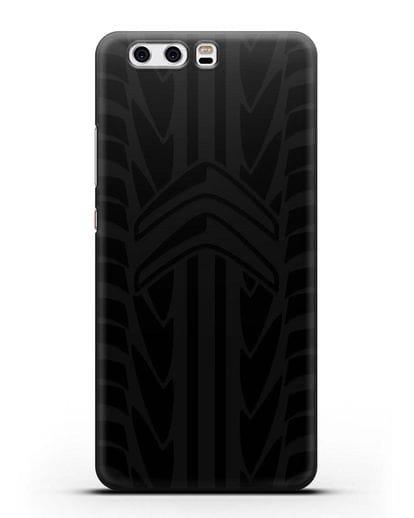 Чехол c эмблемой Citroen с протектором шин силикон черный для Huawei P10