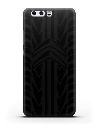 Чехол c эмблемой Citroen с протектором шин силикон черный для Huawei P10 Plus