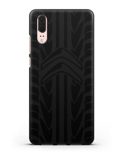 Чехол c эмблемой Citroen с протектором шин силикон черный для Huawei P20