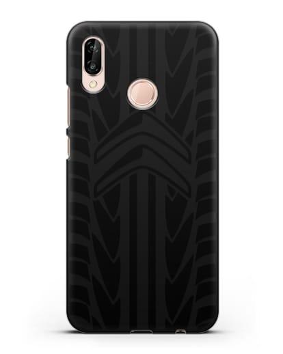 Чехол c эмблемой Citroen с протектором шин силикон черный для Huawei P20 Lite