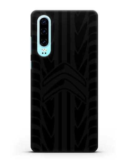 Чехол c эмблемой Citroen с протектором шин силикон черный для Huawei P30