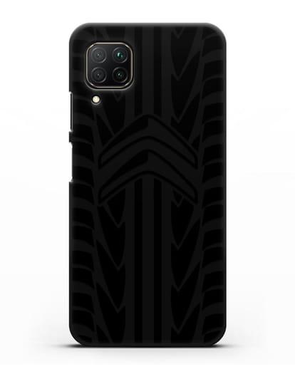 Чехол c эмблемой Citroen с протектором шин силикон черный для Huawei P40 lite