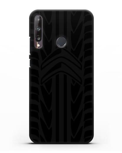 Чехол c эмблемой Citroen с протектором шин силикон черный для Huawei P40 lite E
