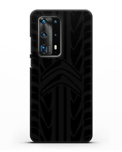 Чехол c эмблемой Citroen с протектором шин силикон черный для Huawei P40 Pro