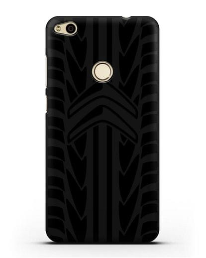 Чехол c эмблемой Citroen с протектором шин силикон черный для Huawei P8 Lite 2017